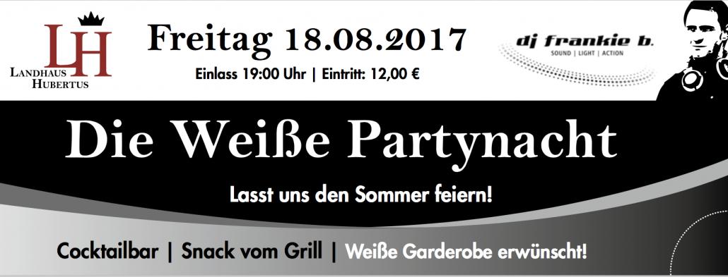 Zum sechsten Mal präsentieren die SHOWAGENTEN die Weiße Partynacht im Landhaus Hubertus.