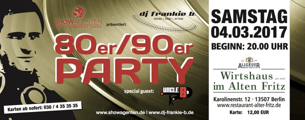 80er/90er Party mit DJ frankie b.